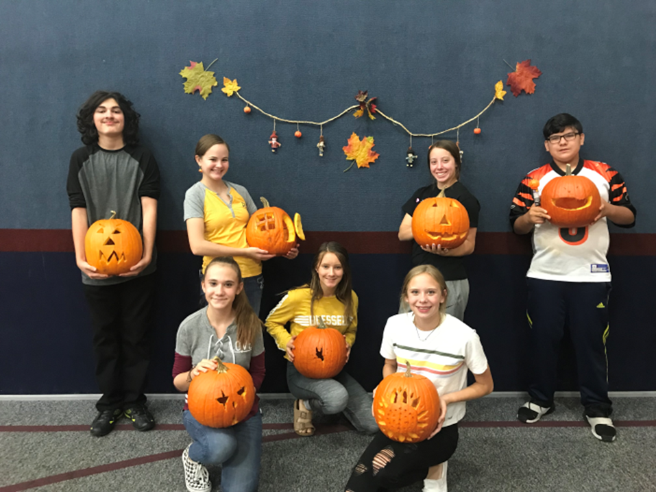 Carving Pumpkins in the Family Life Center