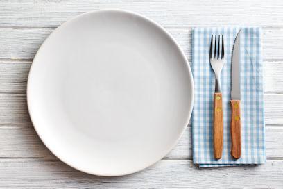 plate, silverware setup
